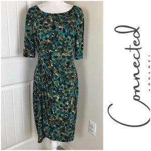 Connected A. Sheath Dress Shirred Bubble Print 14